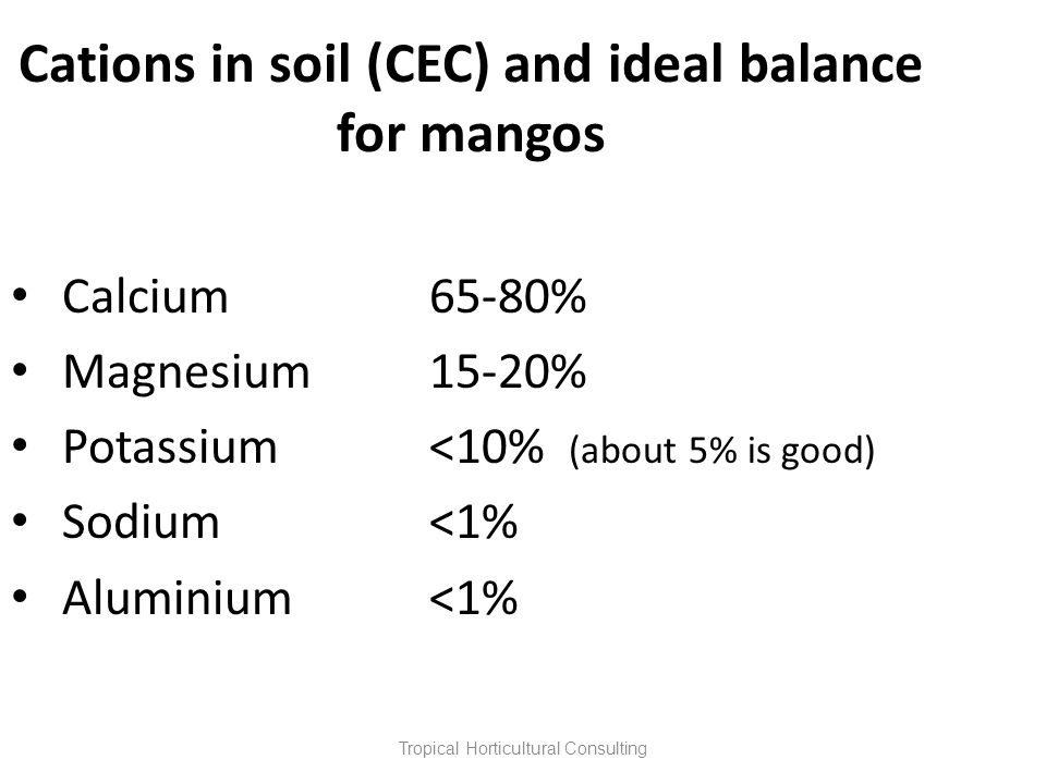 Cations in soil (CEC) and ideal balance for mangos