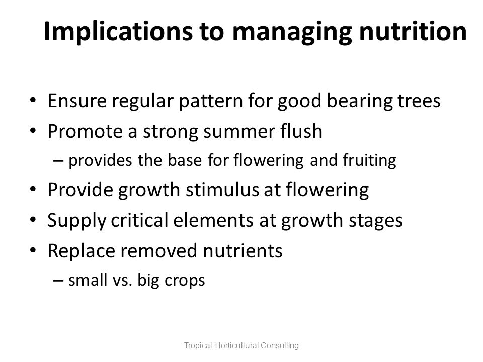 Implications to managing nutrition