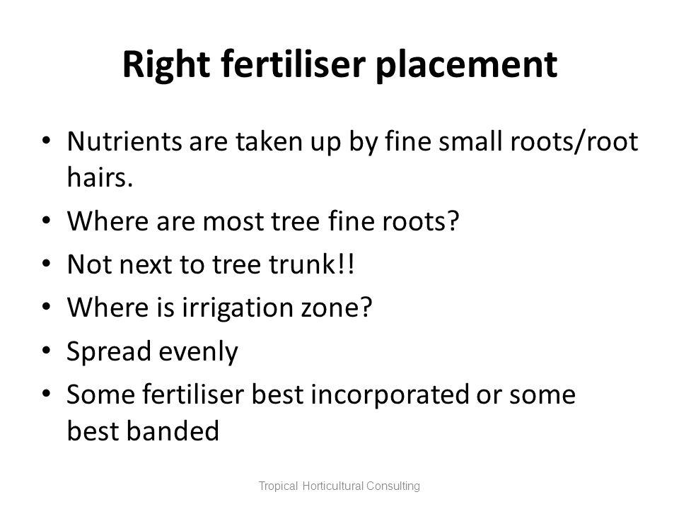 Right fertiliser placement