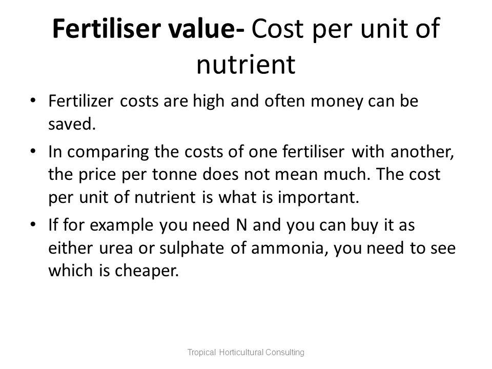Fertiliser value- Cost per unit of nutrient