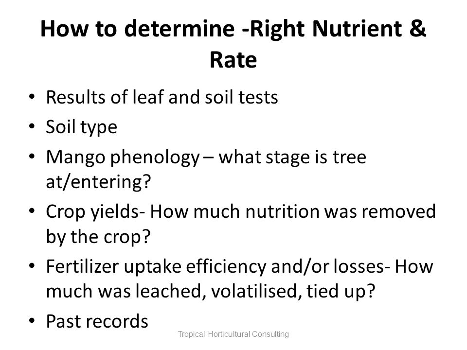 How to determine -Right Nutrient & Rate