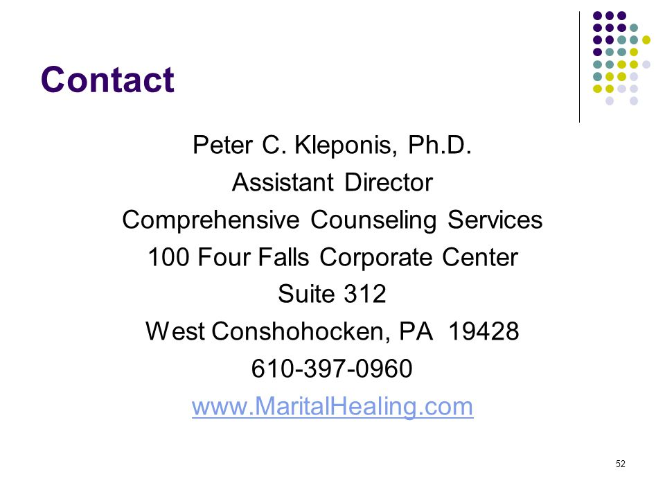 Contact Peter C. Kleponis, Ph.D. Assistant Director