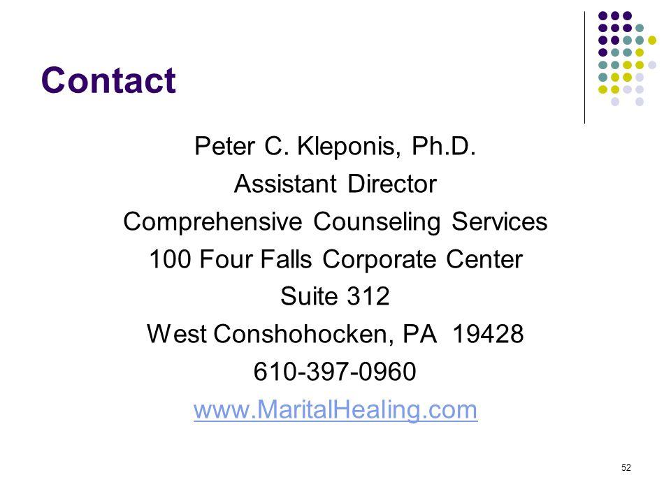 Contact Peter C. Kleponis, Ph.D. Assistant Director