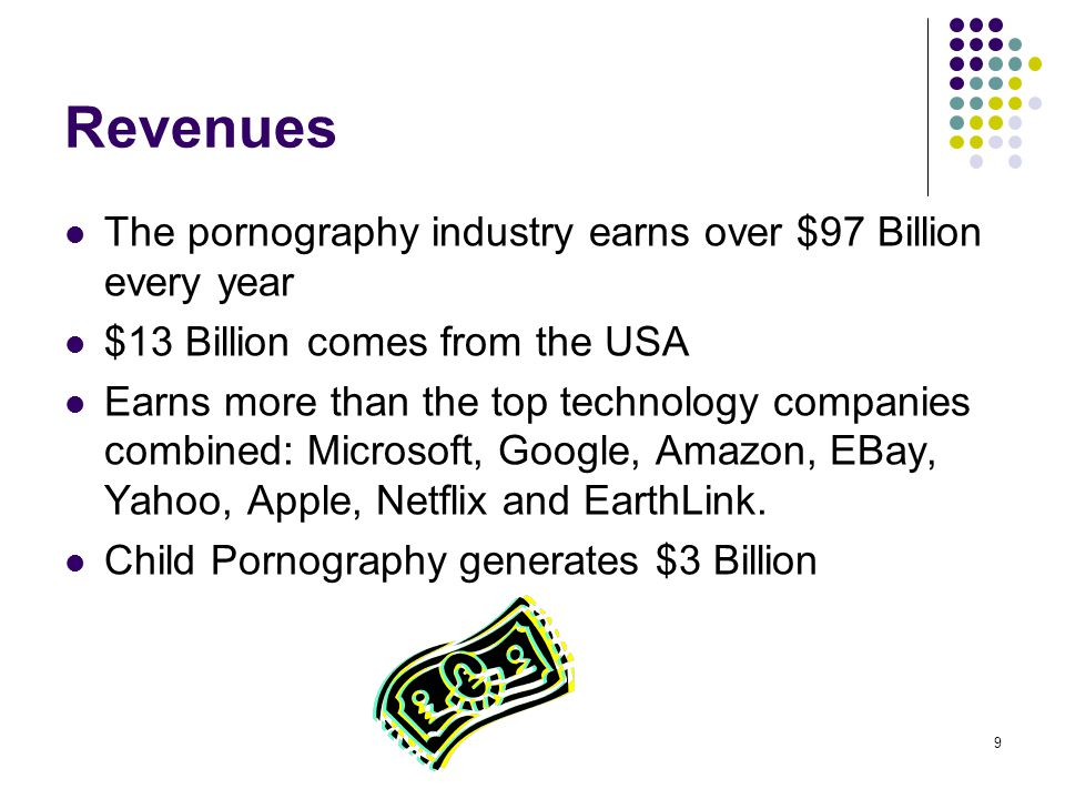 Revenues The pornography industry earns over $97 Billion every year
