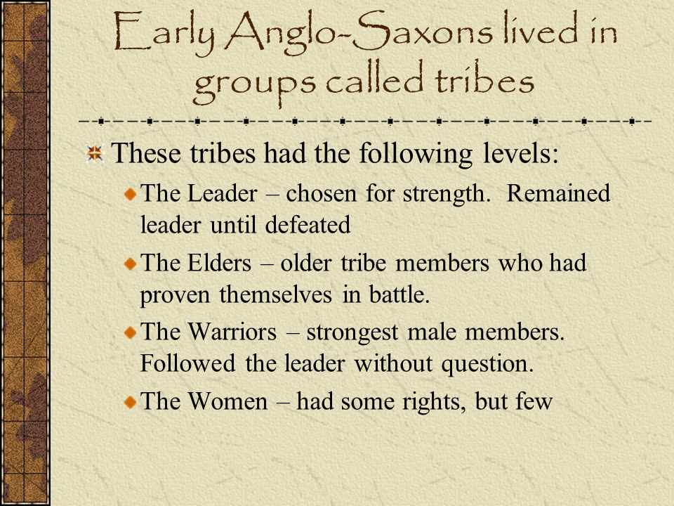 Early Anglo-Saxons lived in groups called tribes