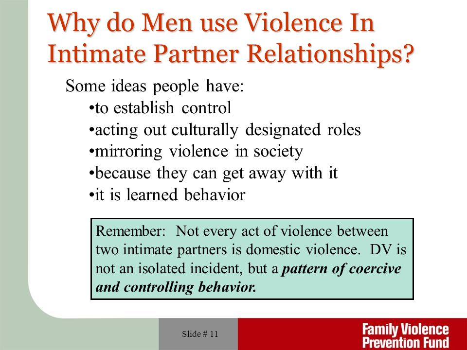 Why do Men use Violence In Intimate Partner Relationships