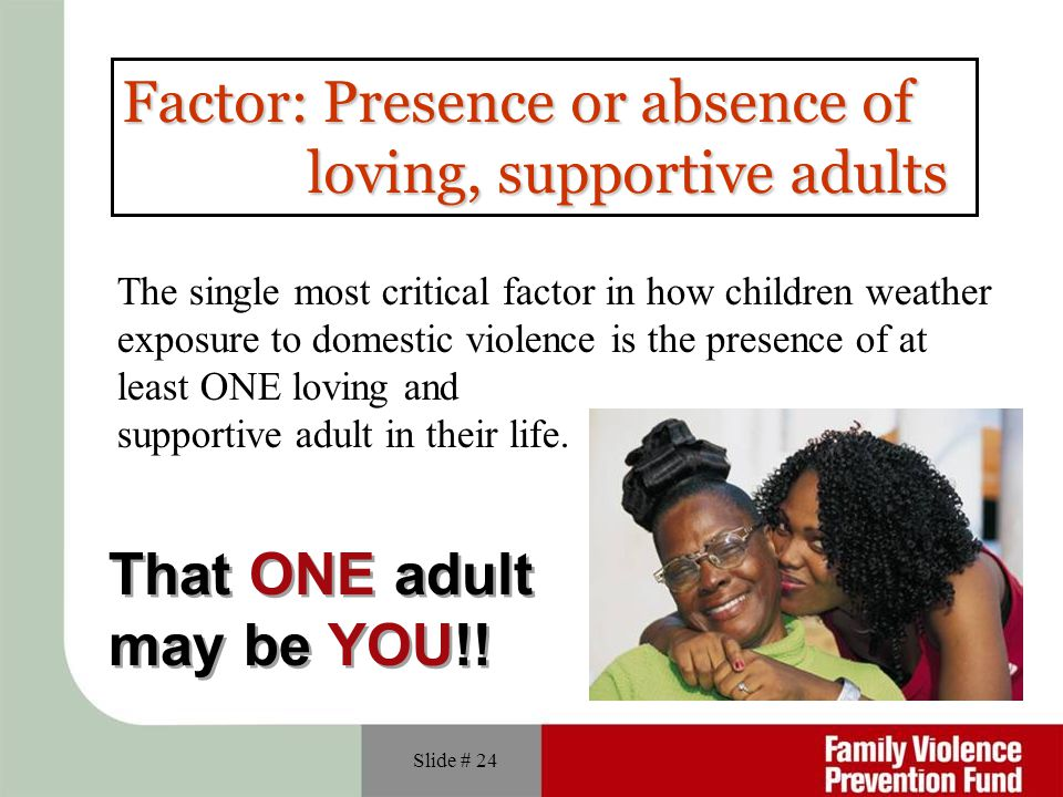 Factor: Presence or absence of loving, supportive adults