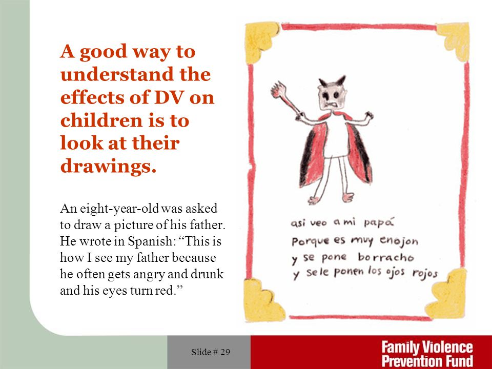 A good way to understand the effects of DV on children is to look at their drawings.