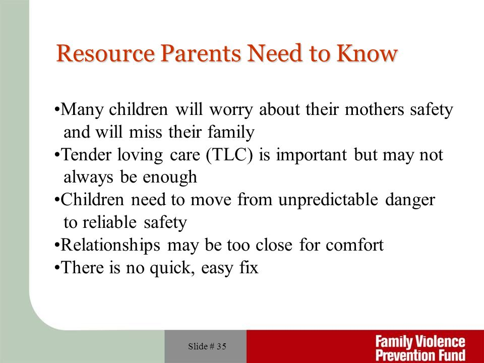 Resource Parents Need to Know