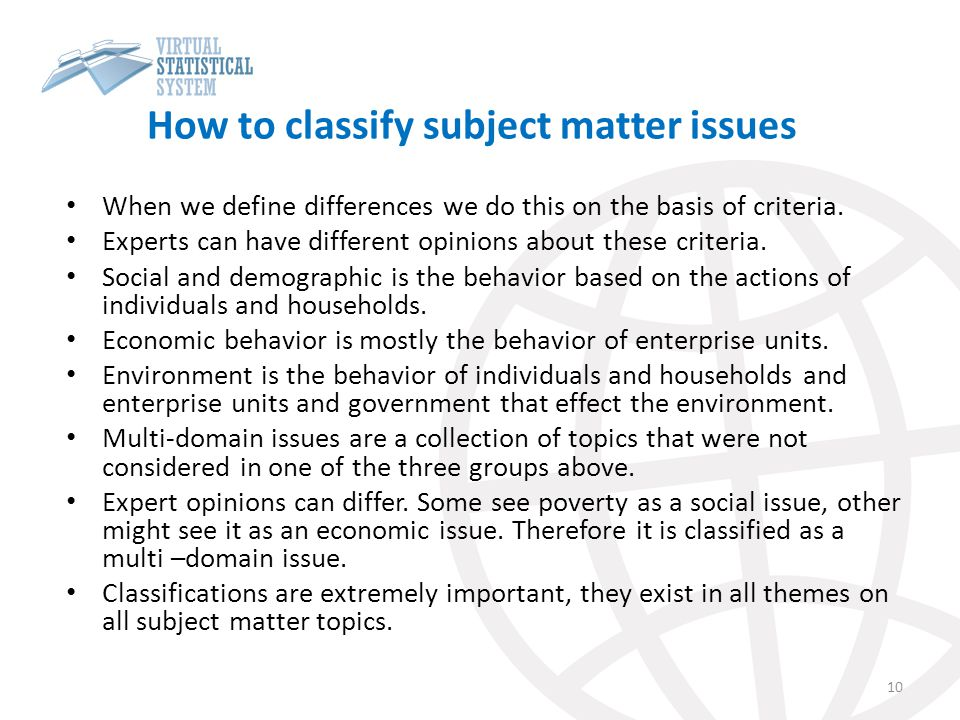 How to classify subject matter issues