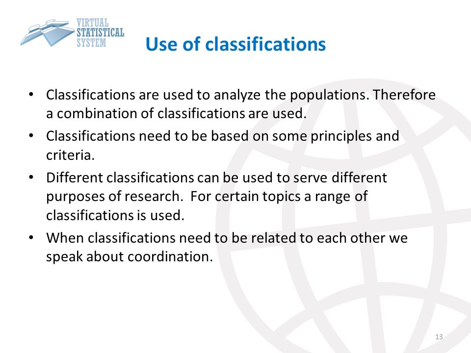 Use of classifications