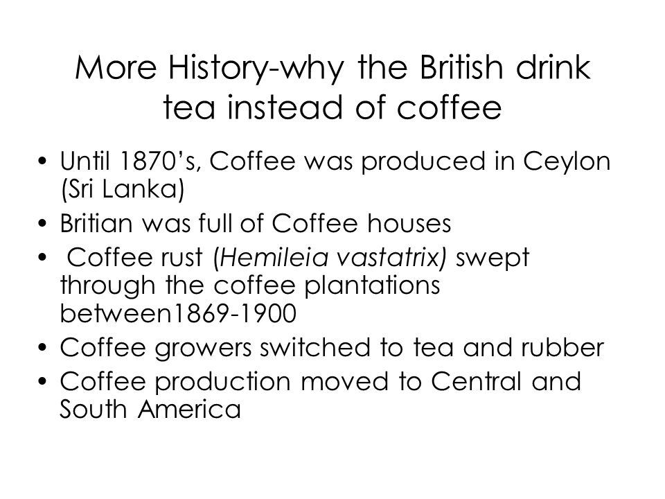 More History-why the British drink tea instead of coffee