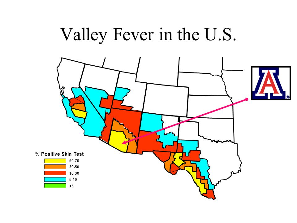 Valley Fever in the U.S. % Positive Skin Test 50-70 30-50 10-30 5-10