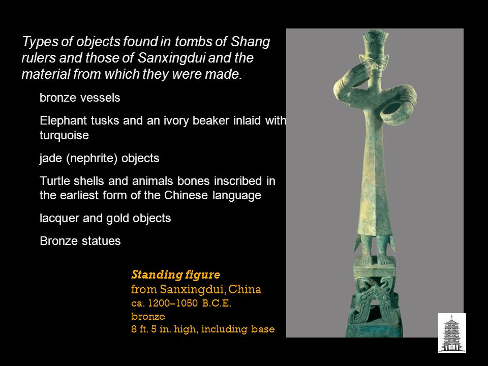 Types of objects found in tombs of Shang rulers and those of Sanxingdui and the material from which they were made.