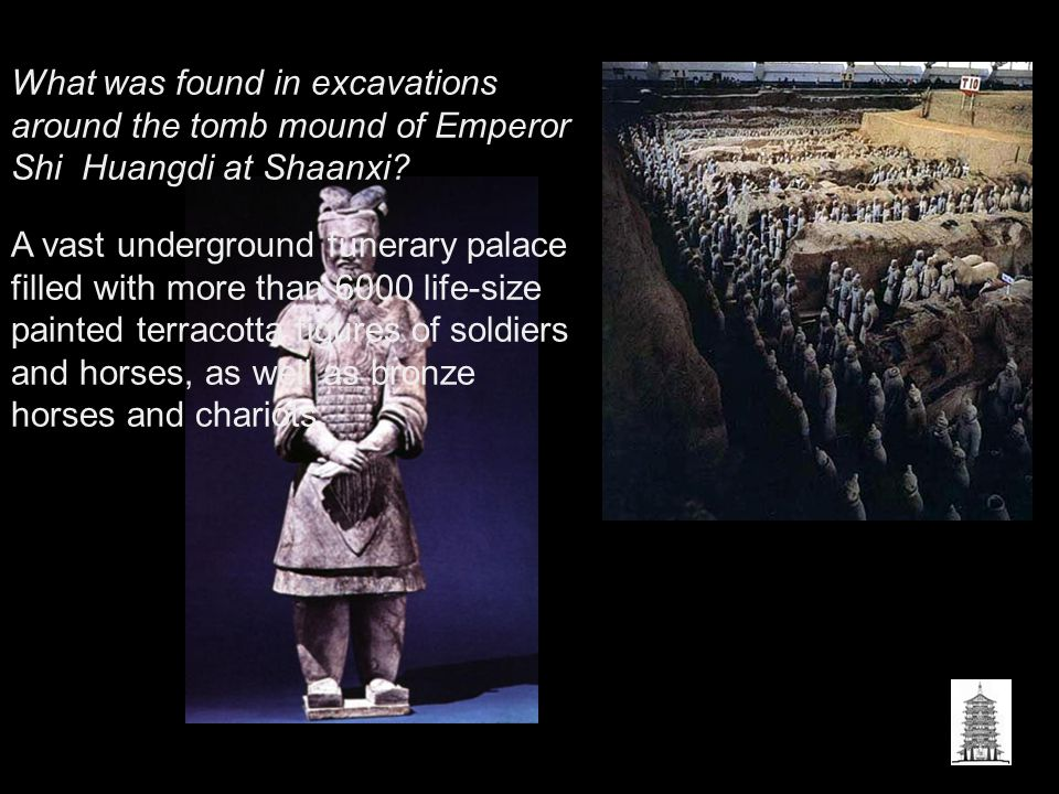 What was found in excavations around the tomb mound of Emperor Shi Huangdi at Shaanxi