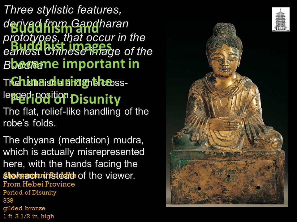 Three stylistic features, derived from Gandharan prototypes, that occur in the earliest Chinese image of the Buddha