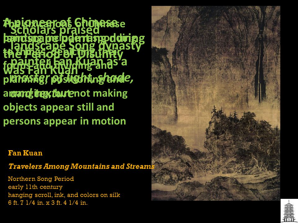 A pioneer of Chinese landscape painting during the Period of Disunity was Fan Kuan
