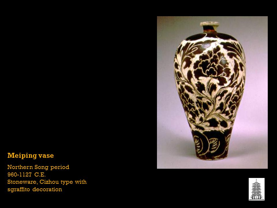 IDENTIFY COMPLETELY: STYLISTIC PERIOD OR CULTURE. SUBJECT/ICONOGRAPHY. STYLE/TECHNIQUE. Meiping vase.