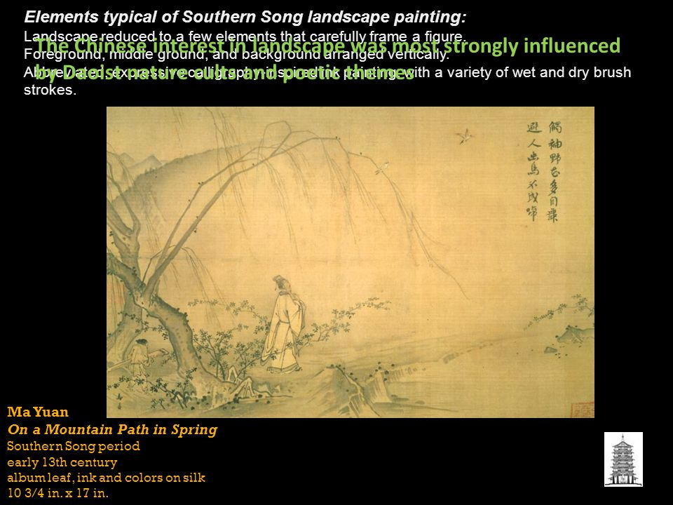 Elements typical of Southern Song landscape painting: