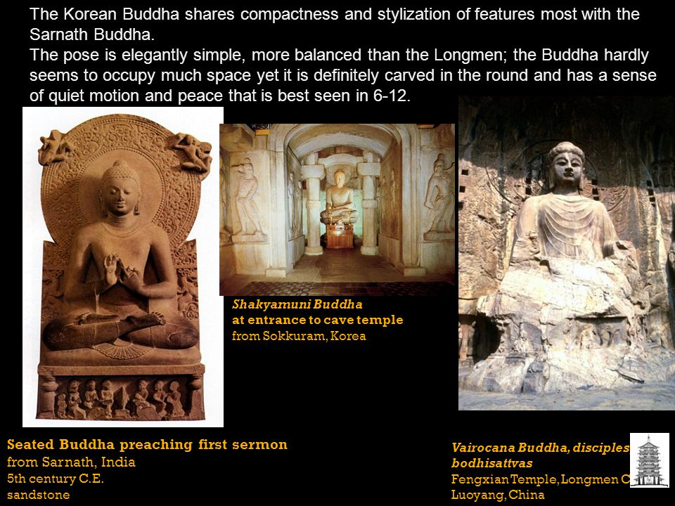 The Korean Buddha shares compactness and stylization of features most with the Sarnath Buddha.