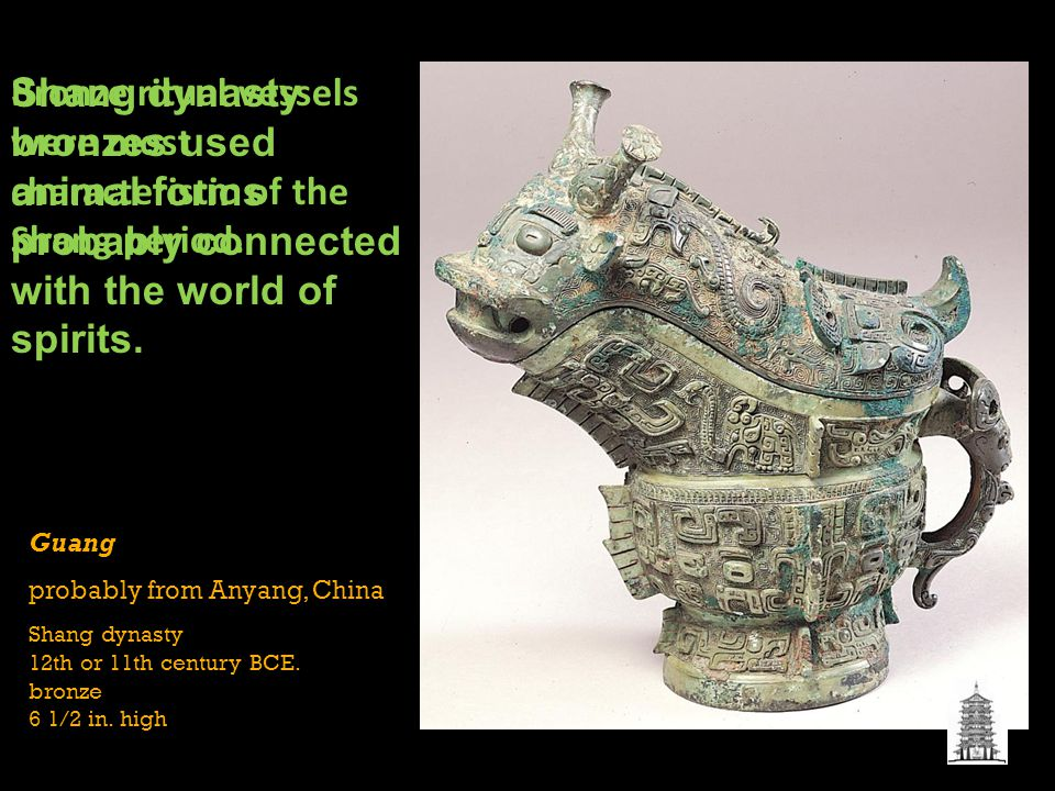Bronze ritual vessels were most characteristic of the Shang period.