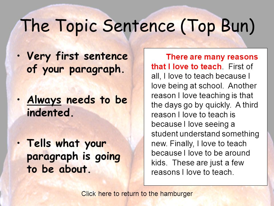 The Topic Sentence (Top Bun)