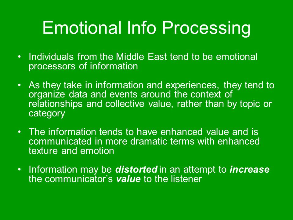 Emotional Info Processing