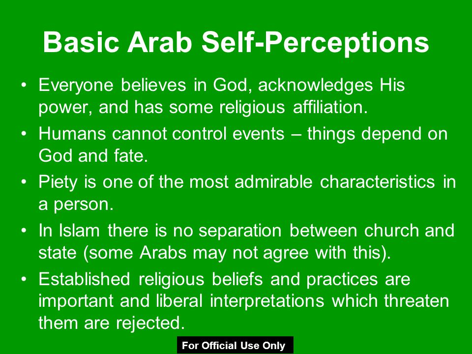 Basic Arab Self-Perceptions