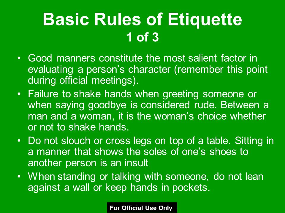Basic Rules of Etiquette 1 of 3