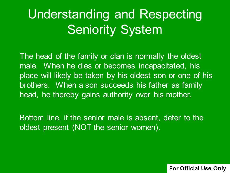 Understanding and Respecting Seniority System
