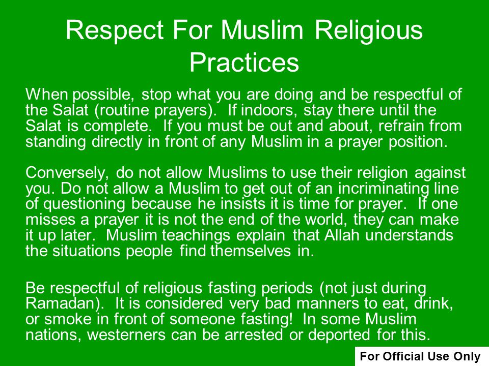Respect For Muslim Religious Practices