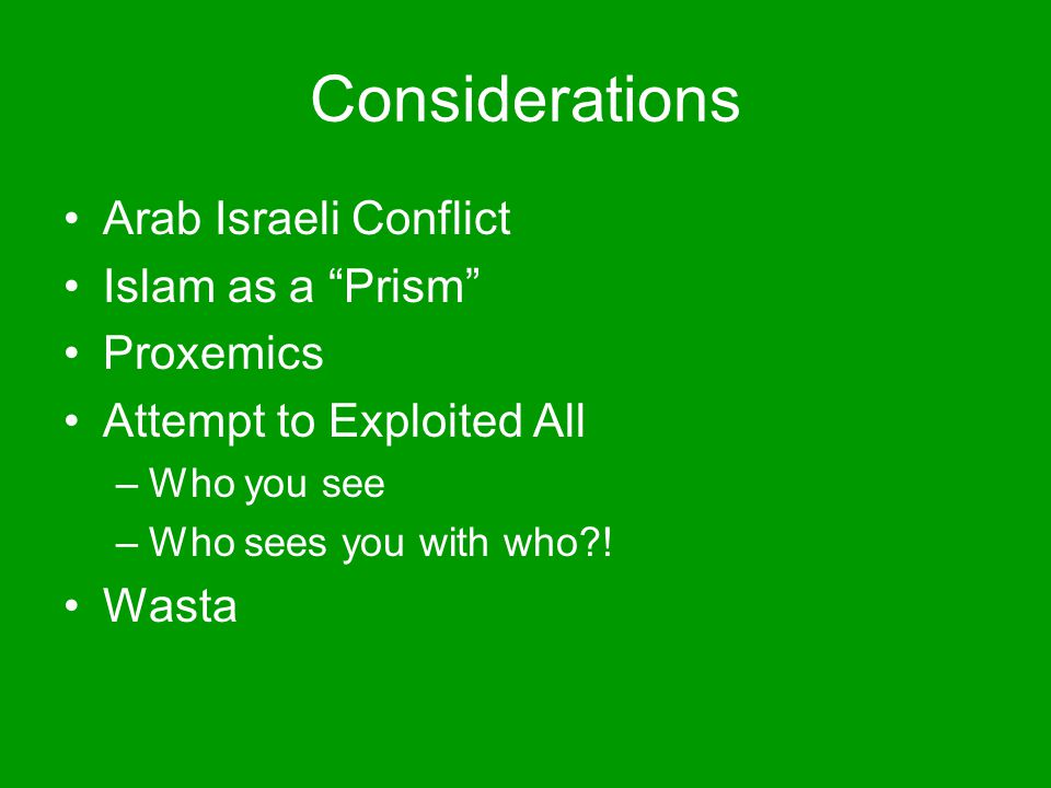 Considerations Arab Israeli Conflict Islam as a Prism Proxemics