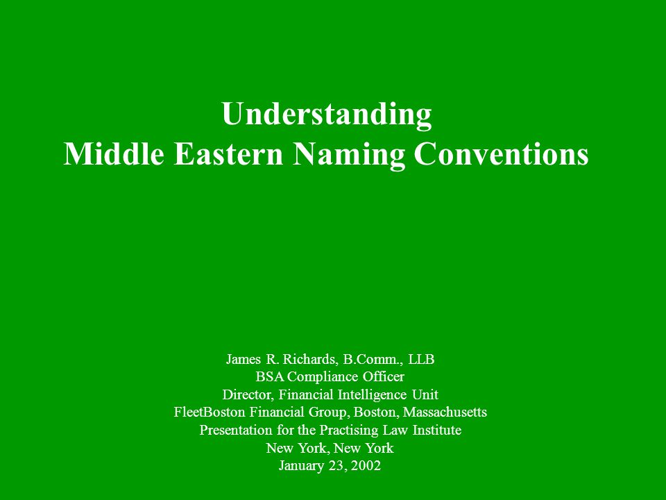 Middle Eastern Naming Conventions