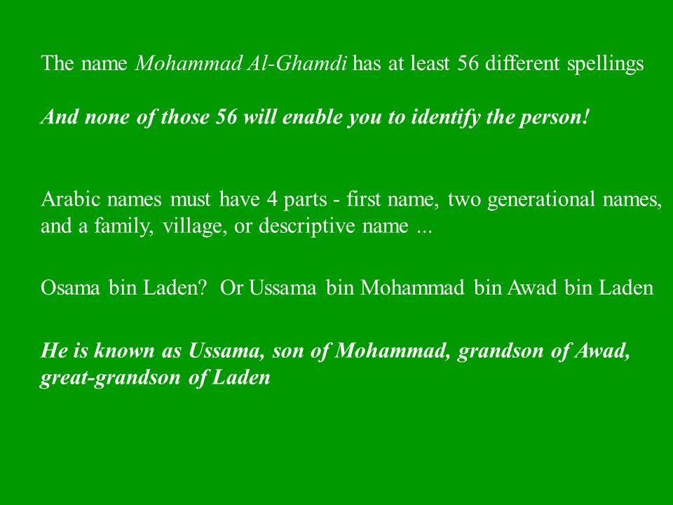 The name Mohammad Al-Ghamdi has at least 56 different spellings