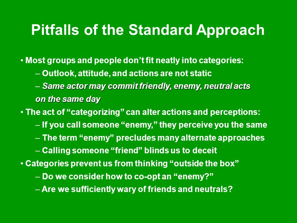 Pitfalls of the Standard Approach