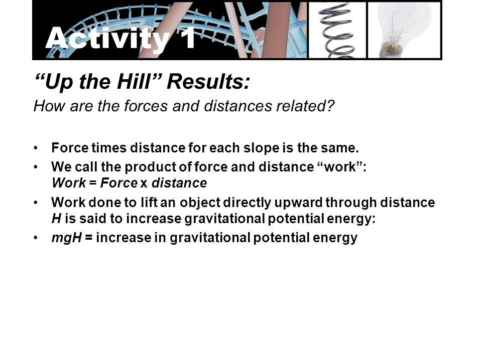 Activity 1 Up the Hill Results: