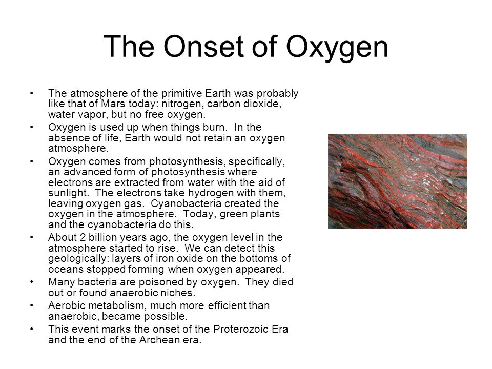 The Onset of Oxygen