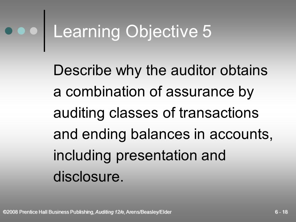 Learning Objective 5 Describe why the auditor obtains