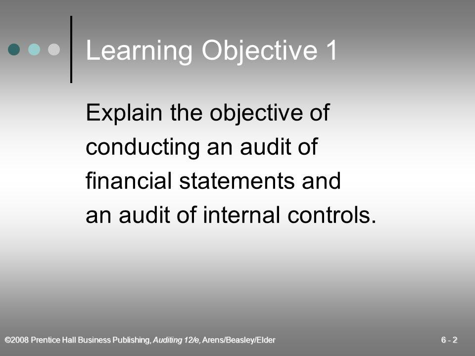 Learning Objective 1 Explain the objective of conducting an audit of