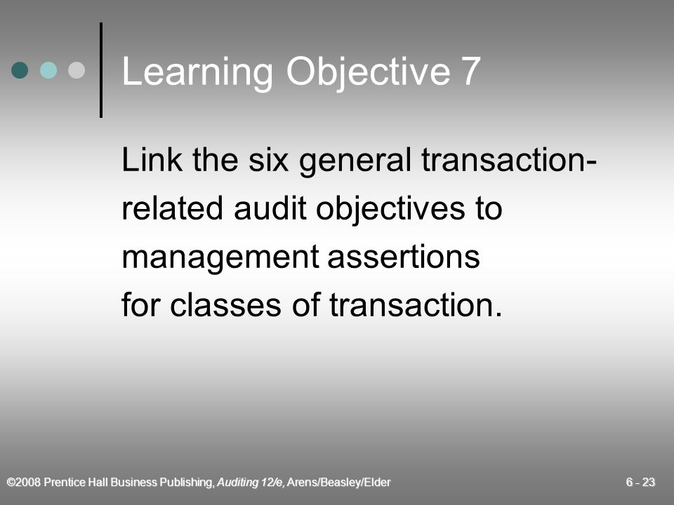 Learning Objective 7 Link the six general transaction-