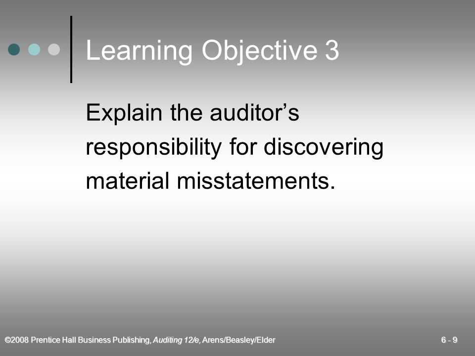 Learning Objective 3 Explain the auditor's