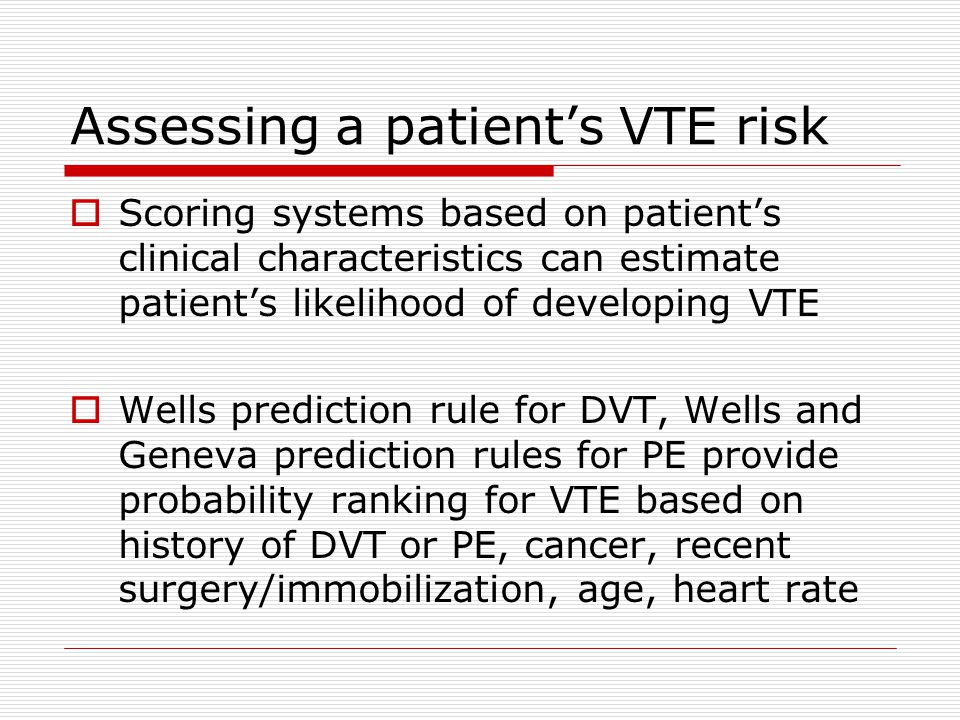 Assessing a patient's VTE risk