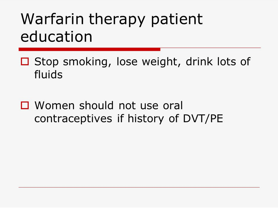 Warfarin therapy patient education