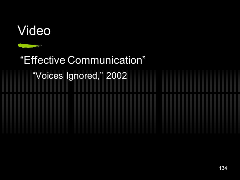 Video Effective Communication Voices Ignored, 2002