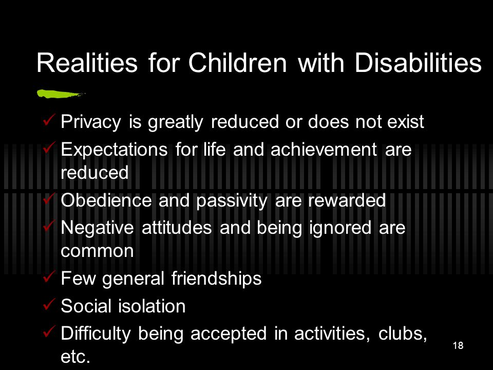 Realities for Children with Disabilities