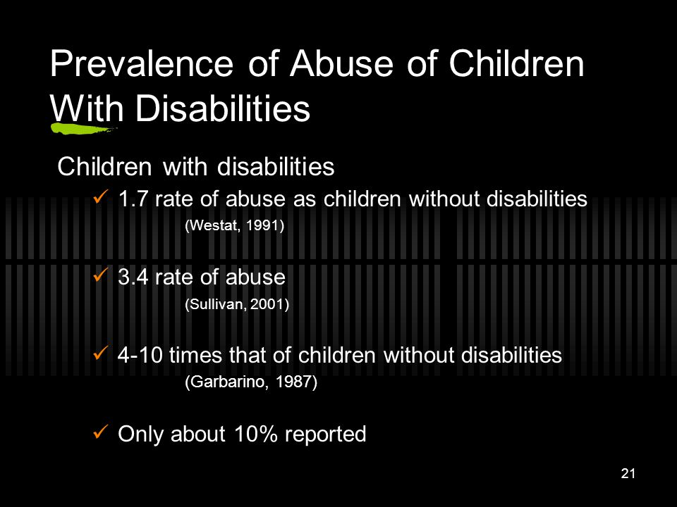 Prevalence of Abuse of Children With Disabilities