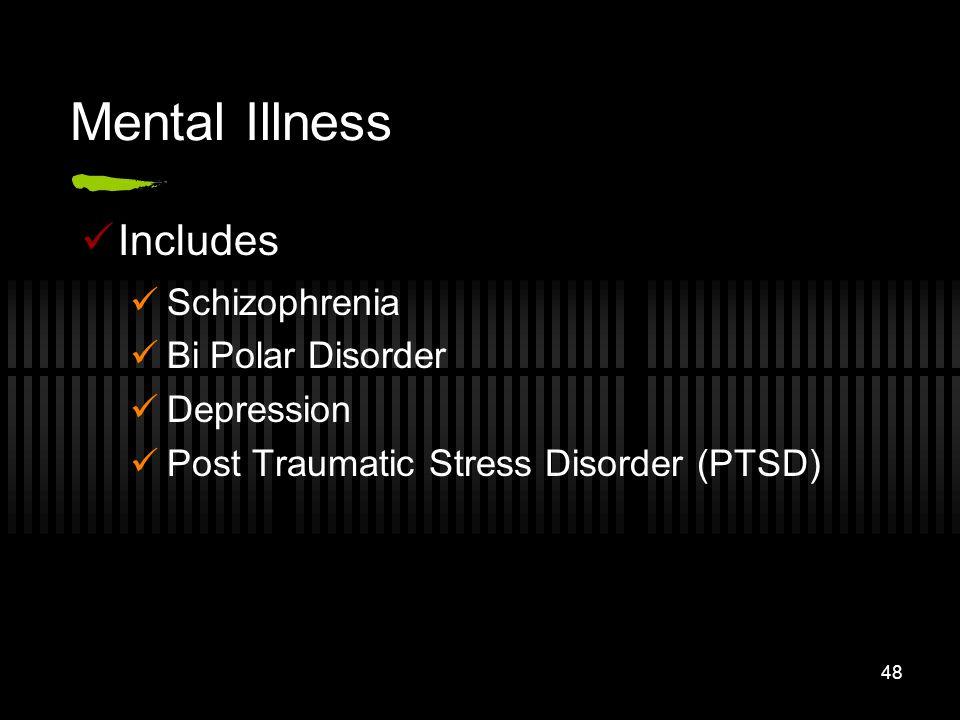 Mental Illness Includes Schizophrenia Bi Polar Disorder Depression