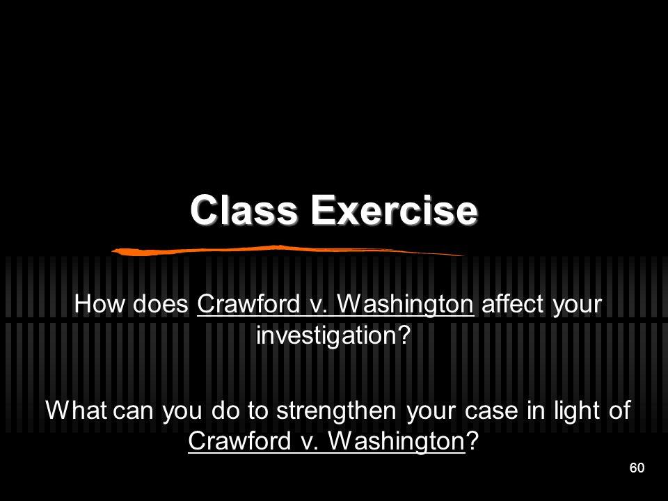 How does Crawford v. Washington affect your investigation