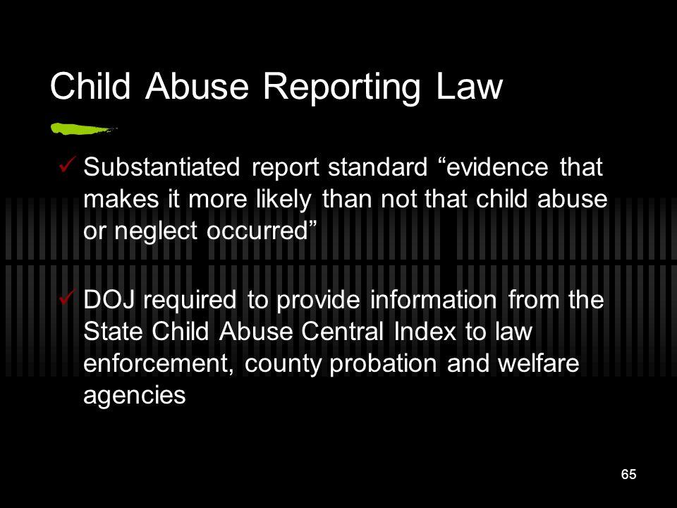 Child Abuse Reporting Law