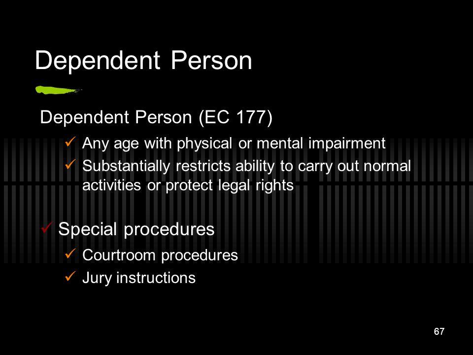 Dependent Person Dependent Person (EC 177) Special procedures